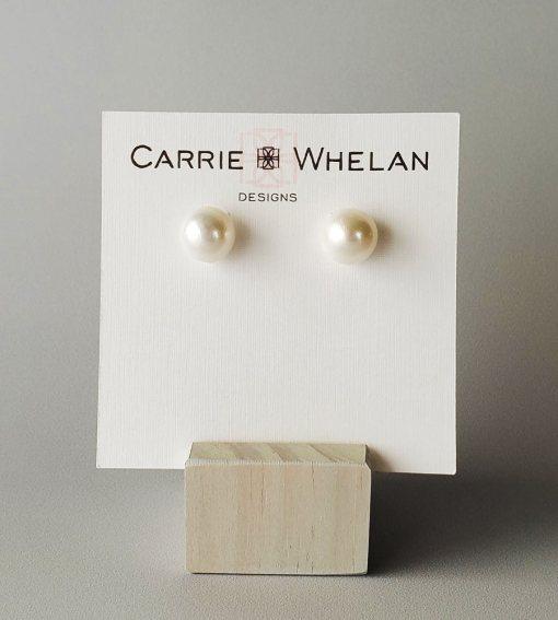 Large pearl stud earrings by Carrie Whelan Designs