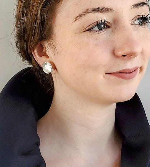 Keshi pearl stud earrings handmade by Carrie Whelan Designs