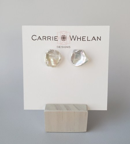 large keshi pearl stud earrings handcrafted by Carrie Whelan Designs