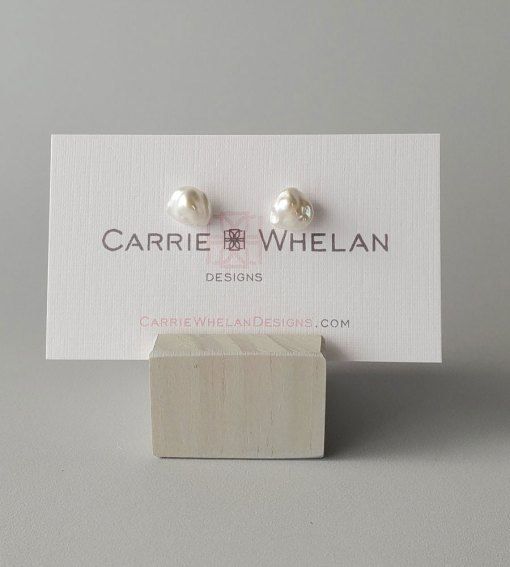 Petite keshi pearl studs with silver posts by Carrie Whelan Designs