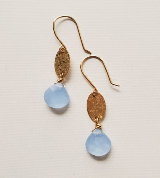 Gold oval and blue chalcedony earrings handmade by Carrie Whelan Designs