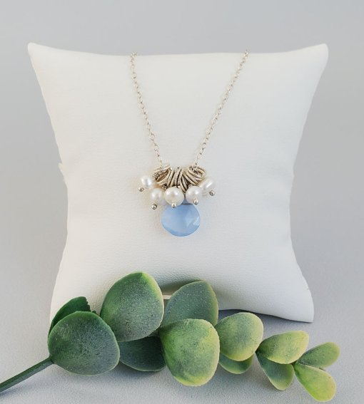Blue gemstone and pearl cluster pendant in sterling silver by Carrie Whelan Designs