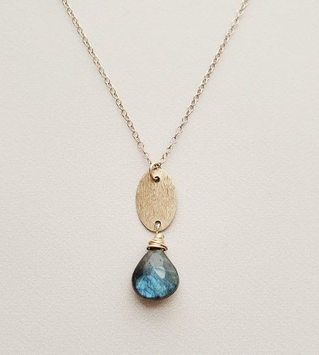 Brushed silver oval and labradorite pendant necklace handcrafted Carrie Whelan Designs