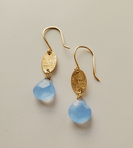 Gold oval and blue chalcedony drop earrings handmade by Carrie Whelan Designs
