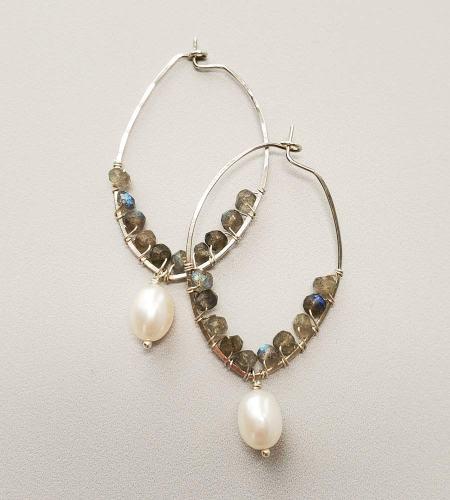 Handmade labradorite and freshwater pearl hoop earrings handmade by Carrie Whelan Designs