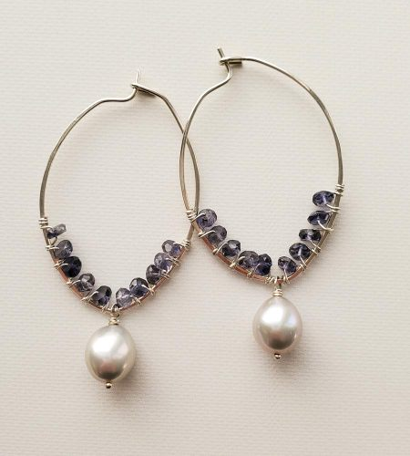 Iolite and gray pearl hoops handmade by Carrie Whelan Designs