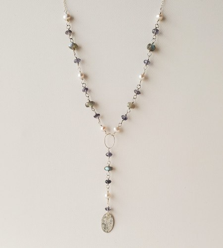 Iolite and gray pearl lariat necklace handmade by Carrie Whelan Designs