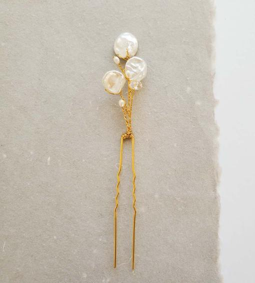 Freshwater pearl petal gold bridal hair pin handmade Carrie Whelan Designs