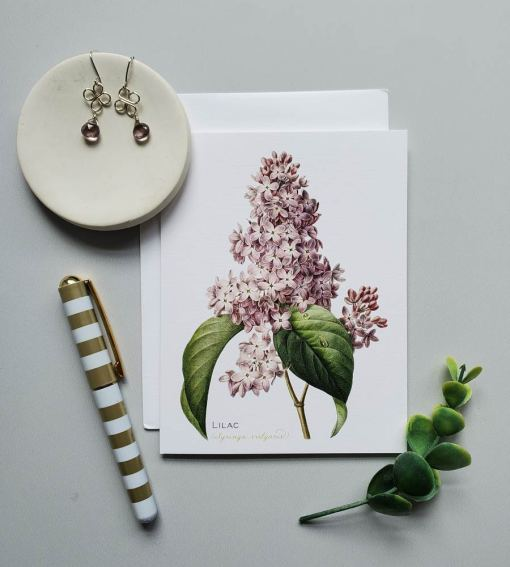 Handcrafted gemstone earring subscription with lilac earrings by Carrie Whelan Designs