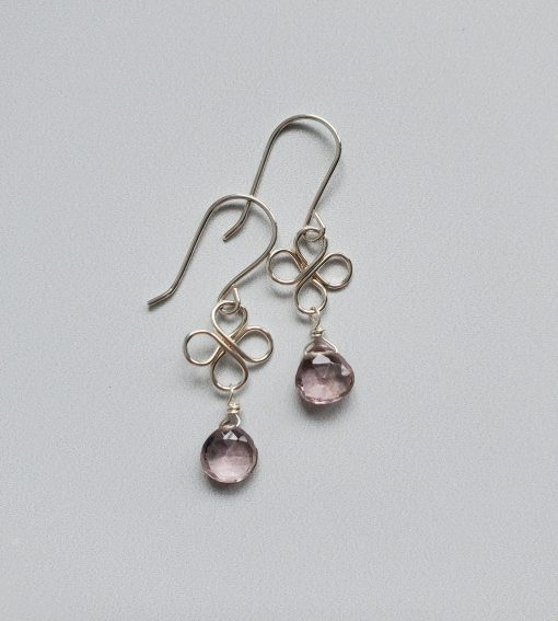 Lilac gemstone and sterling silver earrings handcrafted by Carrie Whelan Designs