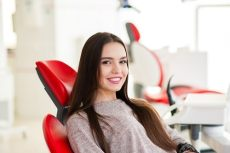 young lady in dental chair