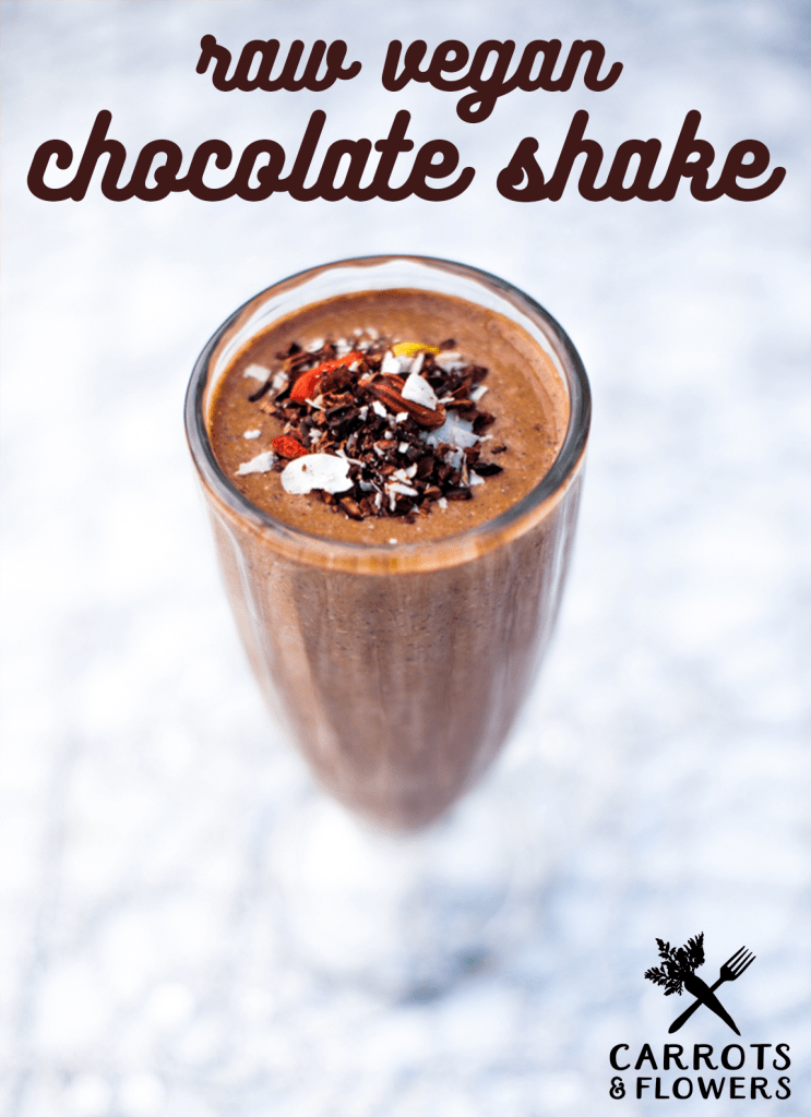 EASY healthy + delicious! This raw vegan chocolate shake is made with dates, chia seeds, and raw cacao for a healthier version of the classic treat | Refined sugar-free | Oil-free dessert or breakfast smoothie