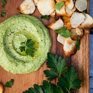 Green Goddess Parsley Hummus with Homemade Taro Chips