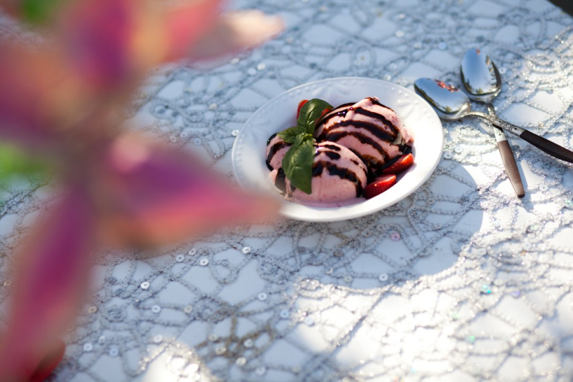 Vegan Strawberry Ice Cream with Basil and Balsamic Drizzle