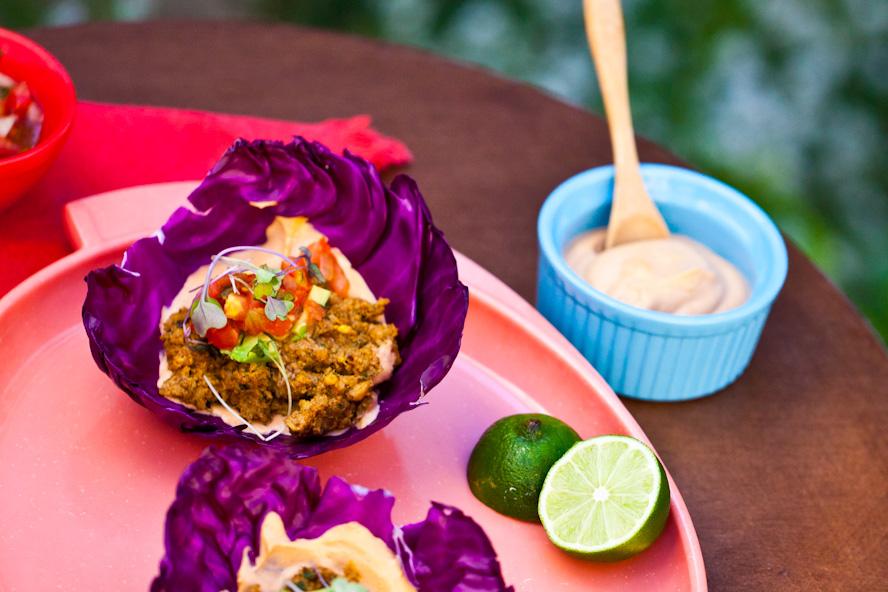 raw vegan walnut tacos