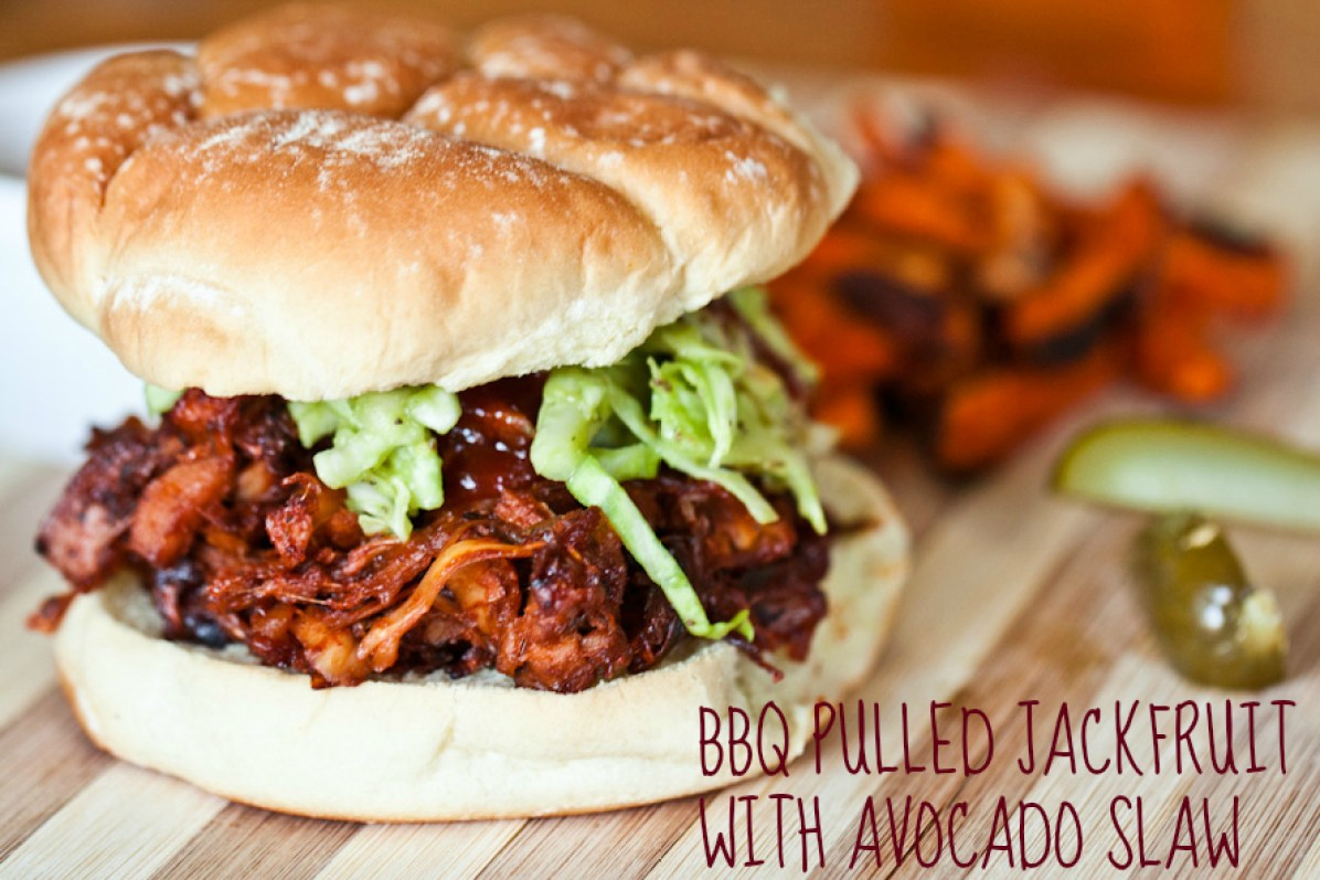bbq pulled jackfruit with avocado slaw