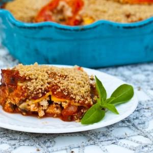 Vegan Zucchini Lasagna with Pesto and Portobello Mushrooms