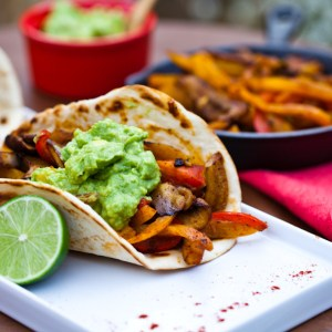 Portobello Veggie Fajitas with Easy Guacamole