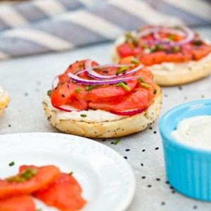 "Vegan NY Style Bagels With Tomato ""Lox"" and Cashew Cream Cheese"