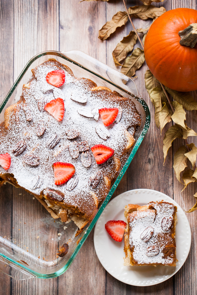 The ULTIMATE vegan brunch   Pumpkin Cream Cheese French Toast Bake the night before for a quick and easy breakfast