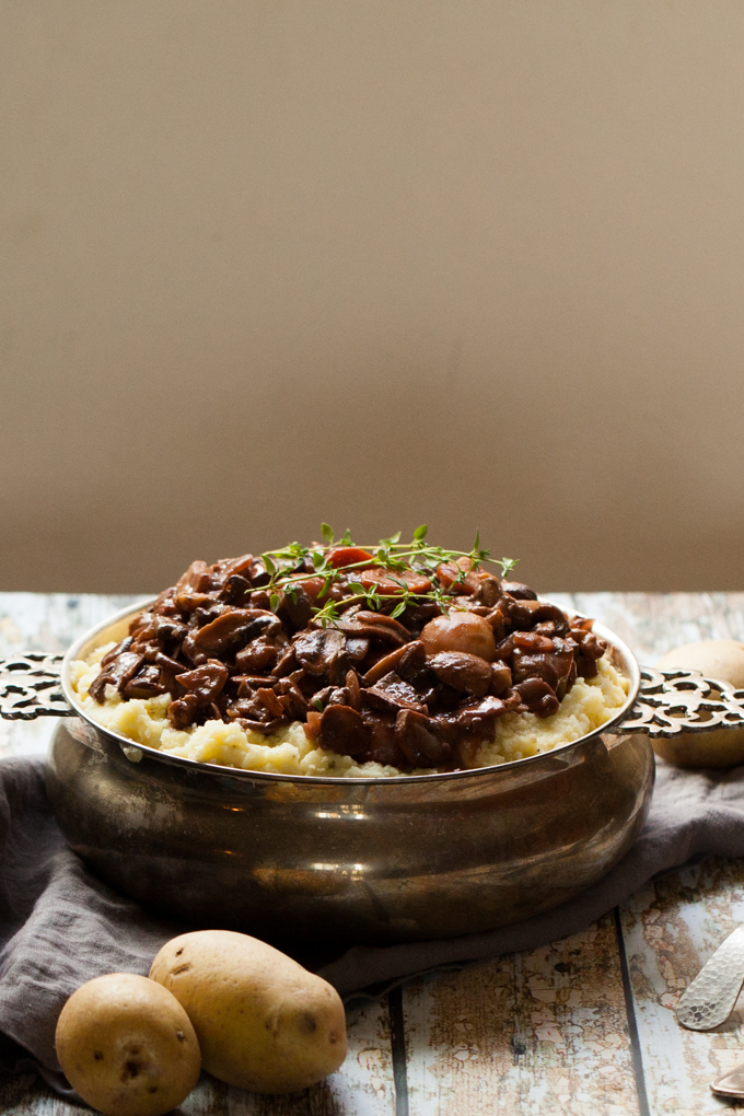 DELICIOUS + HEARTY Vegan Mushroom Walnut Bourguignon on a bed of fluffy Cauliflower Mash   Quick easy + Gluten-free   Perfect for winter nights and holiday meals