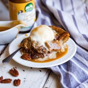 Vegan Butterscotch Bourbon Bread Pudding