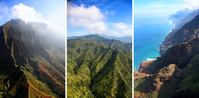 Views from helicopter tours of Na Pali Coast in Kauai
