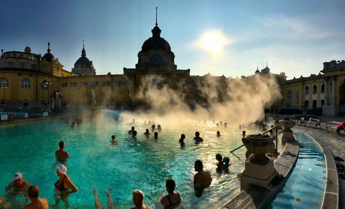 Rising Steam Szechenyi Thermal Baths In Budapest