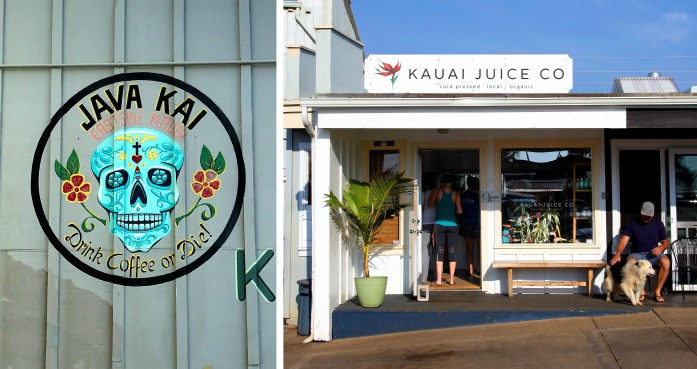 Coffee and juice in downtown Kapaa, Kauai