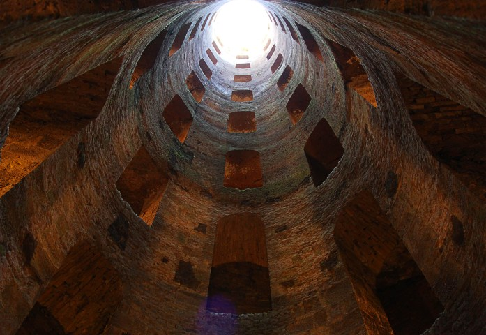 Looking looking up from the bottom of St. Patrick's Well in Orvieto Itally