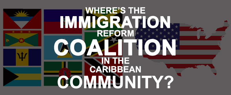 immigration reform and flags of the caribbean with a map of the usa