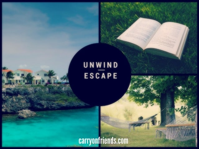 unwind escape in a hammock an open book or a house on a cliff overlooking the beach