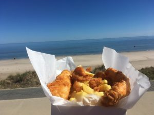 stunned mullet fish and chips meal