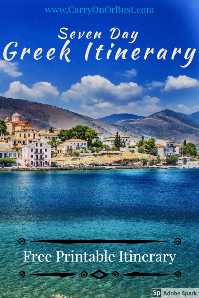 Greek beaches and one week in greece itinerary text over blue water