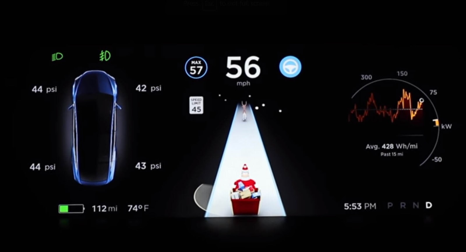 Tesla Celebrates The Holidays With Santa Mode Easter Egg