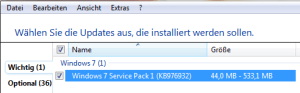 Windows 7 - SP 1 Auswahl