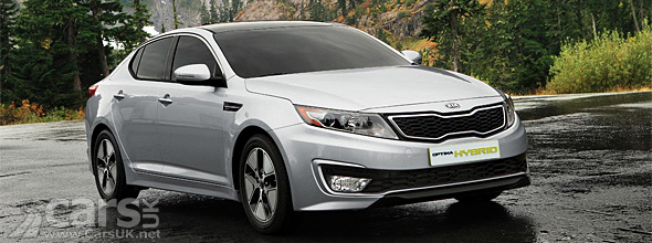 Front view of silver Kia Optima Hybrid