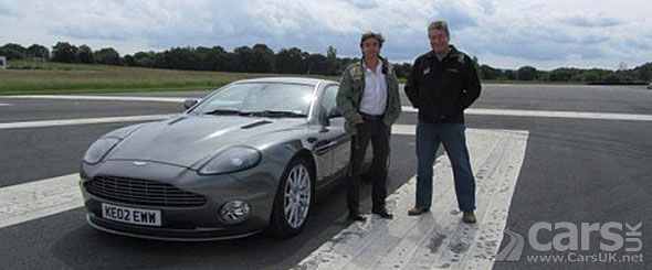 Photo of Richard Hammond with James Bond Aston Martin Vanquish