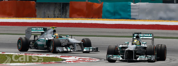 Photo of 2 Mercedes at Malaysian Grand Prix 2013