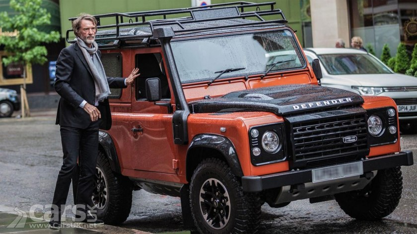 Land Rover are trying to stop Jim Ratcliffe's (pictured with a Defender) Ineos using the Defender design