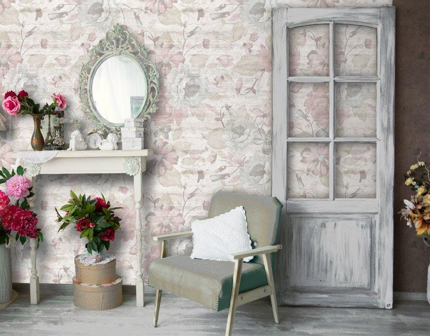 Carta da parati moderna per decorazione murale del soggiorno: Rose E Cemento Carta Da Parati Shabby Chic