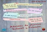 Plazos matrícula colegios e institutos curso 2019/2020