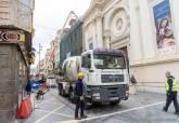 Corte de la calle de la Serreta por las obras de rehabilitación de la fachada del antiguo Hospital de Caridad