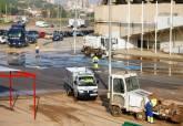 Limpieza del aparcamiento del Estadio Cartagonova después de la gota fría