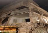 Derrumbe de la mediana de un edificio en la calle Cuatro Santos