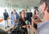 Ana Belén Castejón durante sus declaraciones a los medios de comunicación