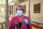Vicealcaldesa de Cartagena, Noelia Arroyo, ofreciendo declaraciones a los medios