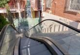Escaleras de acceso al Parque Arqueológico del Molinete en funcionamiento