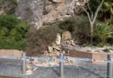 Imagen de archivo de desprendimiento de rocas en la ladera de la calle Gisbert que da a la Plaza de Toros