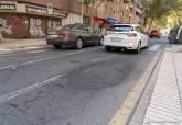 Tramo de la calle Ramón y Cajal que será asfaltado a partir del martes, 31 de agosto